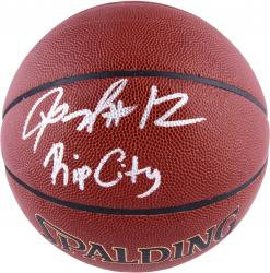 LaMarcus Aldridge Portland Trail Blazers Autographed Spalding Indoor Outdoor Basketball with Rip City Inscription - Mounted Memories