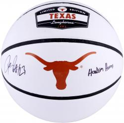 LaMarcus Aldridge Texas Longhorns Autographed White Panel Basketball with Hook Em Horns Inscription - Mounted Memories