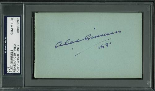 "Alec Guinness ""1971"" Signed 3x5 Cut Signature Auto Graded 10! PSA/DNA Slabbed"