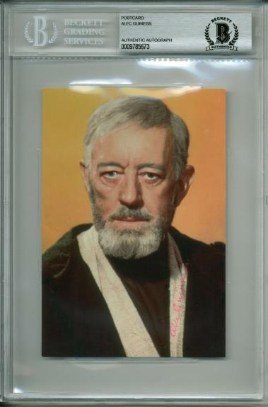 Alec Guinness Star Wars A New Hope Signed 4x6 Postcard BAS Slabbed