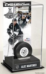 Alec Martinez Los Angeles Kings 2014 Stanley Cup Champions Logo Deluxe Puck Case - Mounted Memories