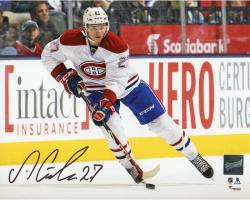"""Alex Galchenyuk Montreal Canadiens Autographed Skating With Puck 8"""" x 10"""" Photograph"""
