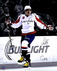 "Alex Ovechkin Washington Capitals Autographed 16"" x 20"" Goal Celebration Spotlight Photograph with The Great Eight Inscription"