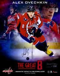 "Alex Ovechkin Washington Capitals Autographed Capitals Franchise Scoring Record Composite 16"" x 20"" Photograph - #8 of a Limited Edition of 108"