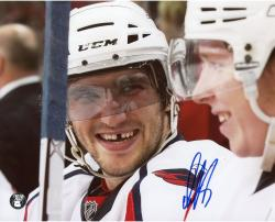 "Alex Ovechkin Washington Capitals Autographed Smiling On Bench 8"" x 10"" Photo"
