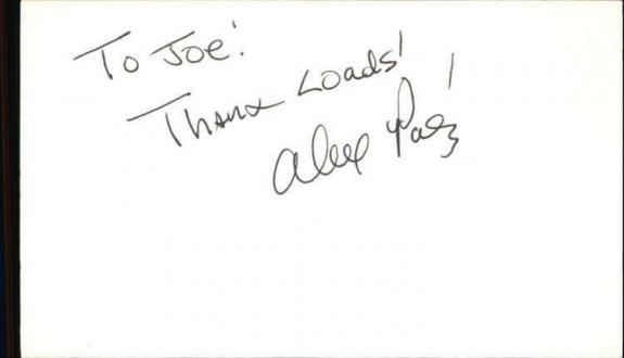"""ALEX PAEZ CSI MIAMI Signed 3""""x5"""" Index Card"""