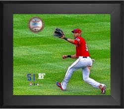 "Alex Rios Texas Rangers Framed 20"" x 24"" Gamebreaker Photograph with Game-Used Ball"