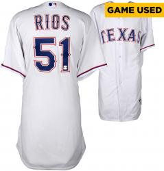 Alex Rios Texas Rangers Game-Used White Jersey from 7/13/14 vs. Los Angeles Angels