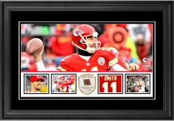 "Alex Smith Kansas City Chiefs Framed 10"" x 18""  Panoramic with Piece of Game-Used Football - Limited Edition of 250"