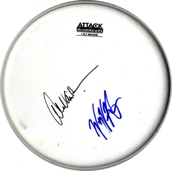 alex van halen wolfgang vanhalen autographed signed attack drumhead drum head. Black Bedroom Furniture Sets. Home Design Ideas