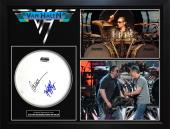 Alex & Wolfgang Van Halen VanHalen Autographed Drumhead Custom Shadowbox Display