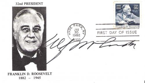 ALF LANDON (DEFEATED in 1936 PRESIDENTIAL ELECTION by FRANKLIN D. ROOSEVELT) Signed CACHET Dated 1/30/82