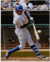 Alfonso Soriano Chicago Cubs Autographed 16'' x 20'' Pinstripe Uniform Hitting Photograph - Mounted Memories