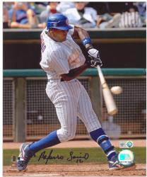 Alfonso Soriano Chicago Cubs Autographed 8'' x 10'' Hitting Pinstripes Photograph - Mounted Memories