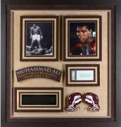 Muhammad Ali Framed 2-Photographs with Autographed Cut - PSA/DNA