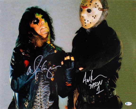 Alice Cooper & Ari Lehman Friday The 13th Signed 16x20 Photo BAS Witnessed