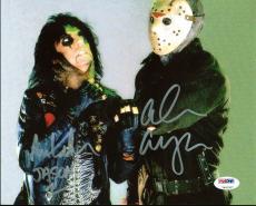 "Alice Cooper & Ari Lehman ""Jason 1"" Signed Friday The 13th 8X10 Photo PSA/DNA"