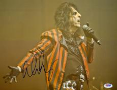 "Alice Cooper Autographed 11""x 14"" Striped Jacket Photograph - PSA/DNA COA"