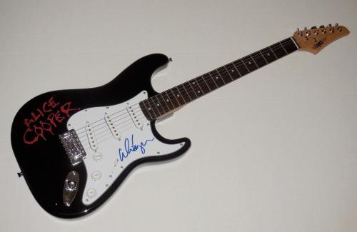 Alice Cooper Autographed Guitar (schools Out) W/ Coa + Proof!