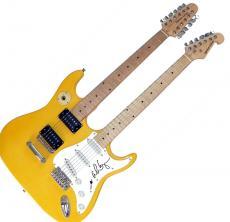 Alice Cooper Autographed Signed Doubleneck Guitar & Proof UACC COA AFTAL