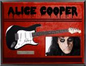 Alice Cooper Autographed Signed Electric Guitar + Display UACC RD COA AFTAL