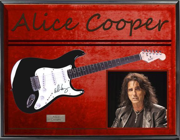 Alice Cooper Autographed Signed Fender Guitar + Display UACC RD COA AFTAL