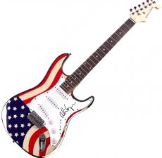 Alice Cooper Autographed Signed Flag Electric Guitar & Proof UACC RD AFTAL
