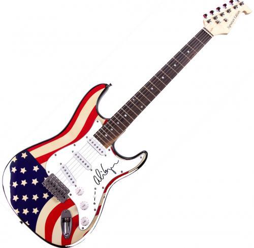 Alice Cooper Autographed Signed Flag Electric Guitar & Proof UACC RD AFTAL