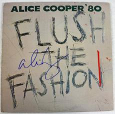 Alice Cooper Flush The Fashion Signed Album Cover W/ Vinyl JSA #F77182