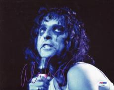 ALICE COOPER HAND SIGNED 8x10 COLOR PHOTO+COA       70's IN CONCERT POSE   PSA