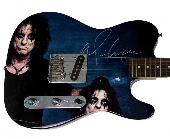Alice Cooper Holding Severed Head Signed Guitar RACC TS AFTAL UACC ACOA