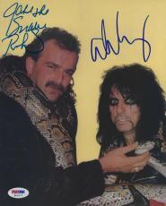 Alice Cooper & Jake The Snake Roberts Signed WWE Wrestlemania 8x10 Photo PSA/DNA