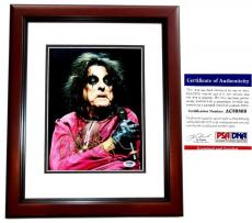 Alice Cooper Signed - Autographed Heavy Metal Singer 8x10 Photo with PSA/DNA Authenticity MAHOGANY CUSTOM FRAME