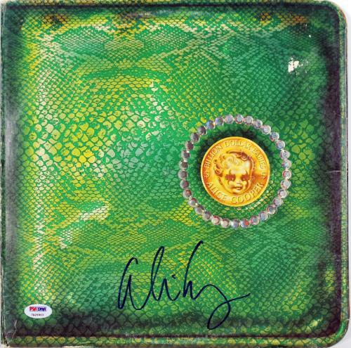 Alice Cooper Signed Billion Dollar Babies Album Cover W/ Vinyl PSA Itp #7A26903