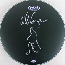 Alice Cooper Signed Drumhead w/ Hand Drawn Self Portrait Sketch PSA ITP #7A26791