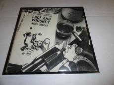 """Alice Cooper Signed Framed """"lace And Whiskey"""" Album Alice N Chains"""