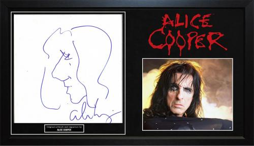 Alice Cooper Signed Hand Drawn Art Sketch Stretched Canvas Custom Display Case P