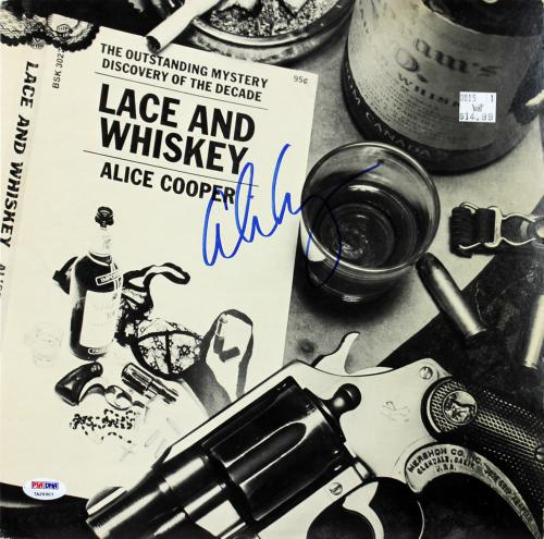 Alice Cooper Signed Lace And Whiskey Album Cover W/ Vinyl PSA/DNA Itp #7A26907