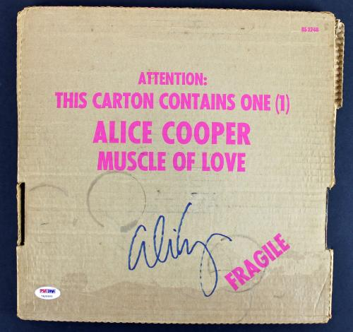 Alice Cooper Signed Muscle Of Love Album Cover W/ Vinyl PSA/DNA ITP #7A26905