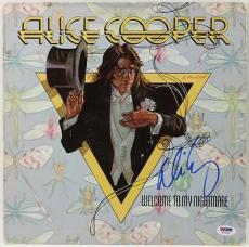 Alice Cooper Welcome To My Nightmare Signed Album Cover Psa #t76254