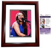 Alicia Keys Signed - Autographed Concert 11x14 inch Photo MAHOGANY CUSTOM FRAME - JSA Certificate of Authenticity