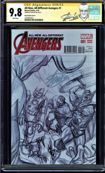 All-new, All-different Avengers #1 Cgc 9.8 Ross Sketch Ss Stan Lee #1227815012