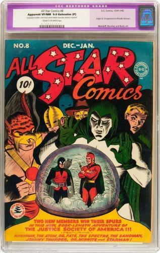 All Star Comics #8 Cgc 9.0 1941 Orig - 1st App Wonder Woman