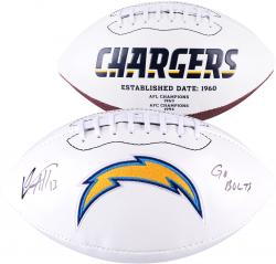 Keenan Allen San Diego Chargers Autographed White Panel Football with Go Bolts Inscription - Mounted Memories