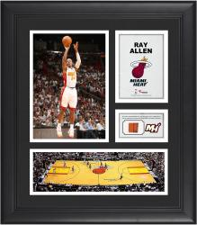 """Ray Allen Miami Heat Framed 15"""" x 17"""" Collage with Team-Used Ball"""