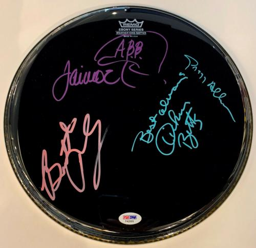 Allman Brothers Autographed Drumhead Signed by 4: Gregg, Betts, Trucks Jaimo PSA