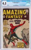 Amazing Fantasy #15 Cgc 4.5 Ow Pages Origin & 1st App Spider-man #1294816001