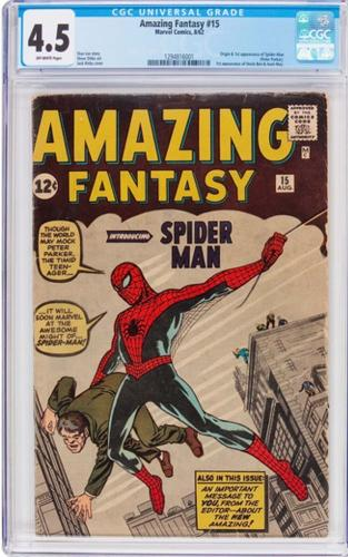Amazing Fantasy #15 Cgc 4.5 Ow Pages Origin & 1st App Spider-man #1294816001