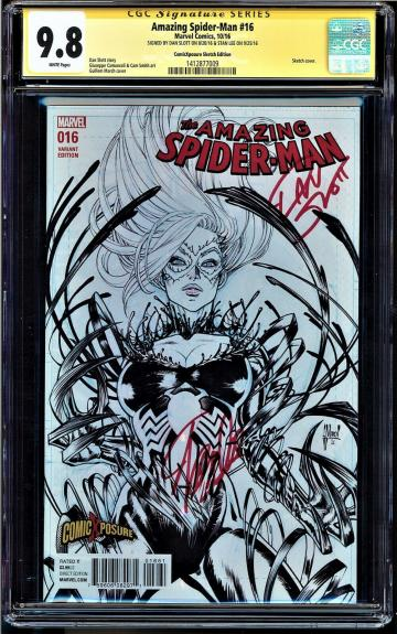 AMAZING SPIDER-MAN #16 CGC 9.8 SS 2Xs STAN LEE SLOTT SKETCH COVER #1412877009