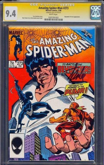Amazing Spider-man #273 Cgc 9.4 White Ss Stan Lee Signed Sig Series #1025701002